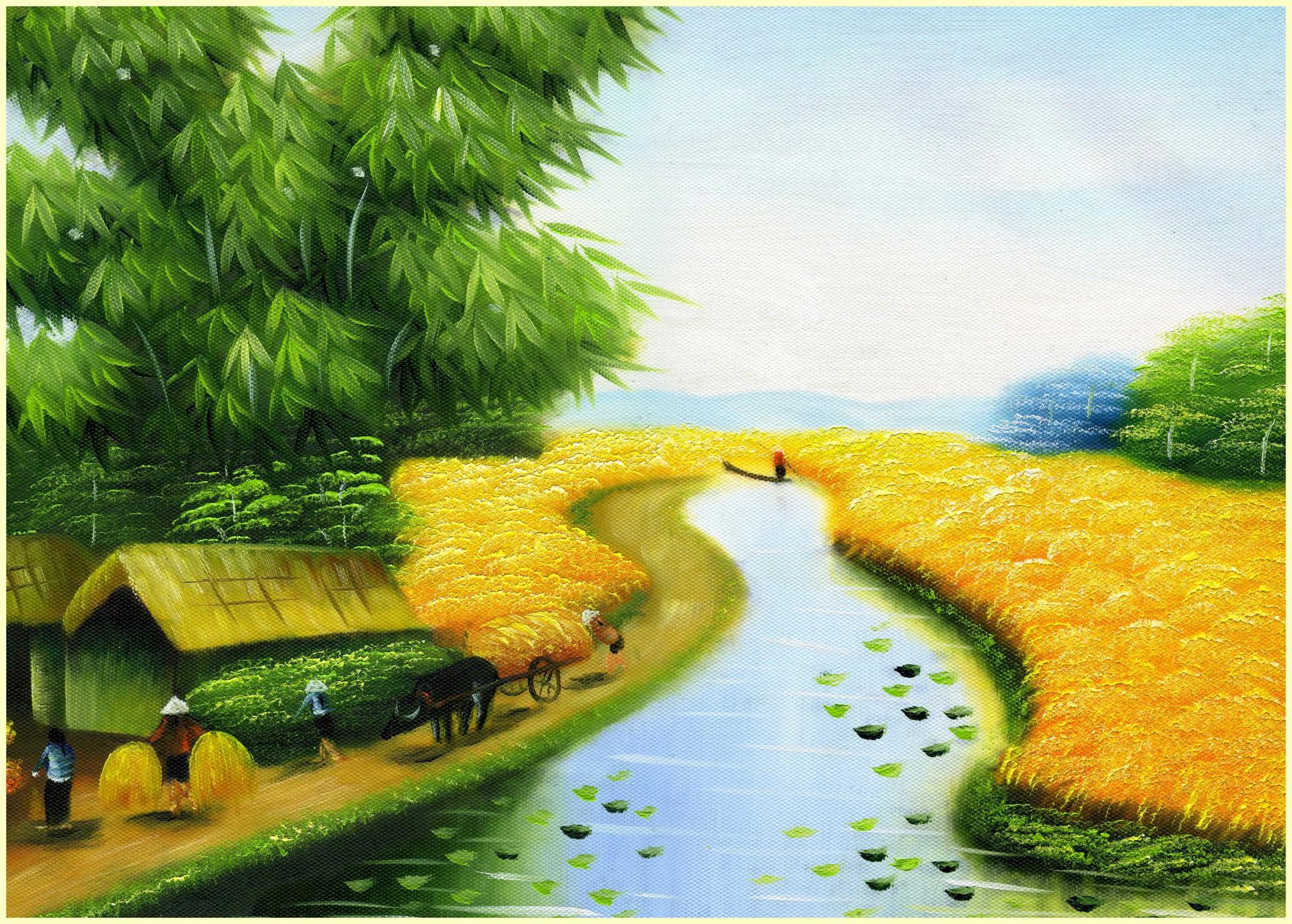 hình ảnh làng quê thanh bình