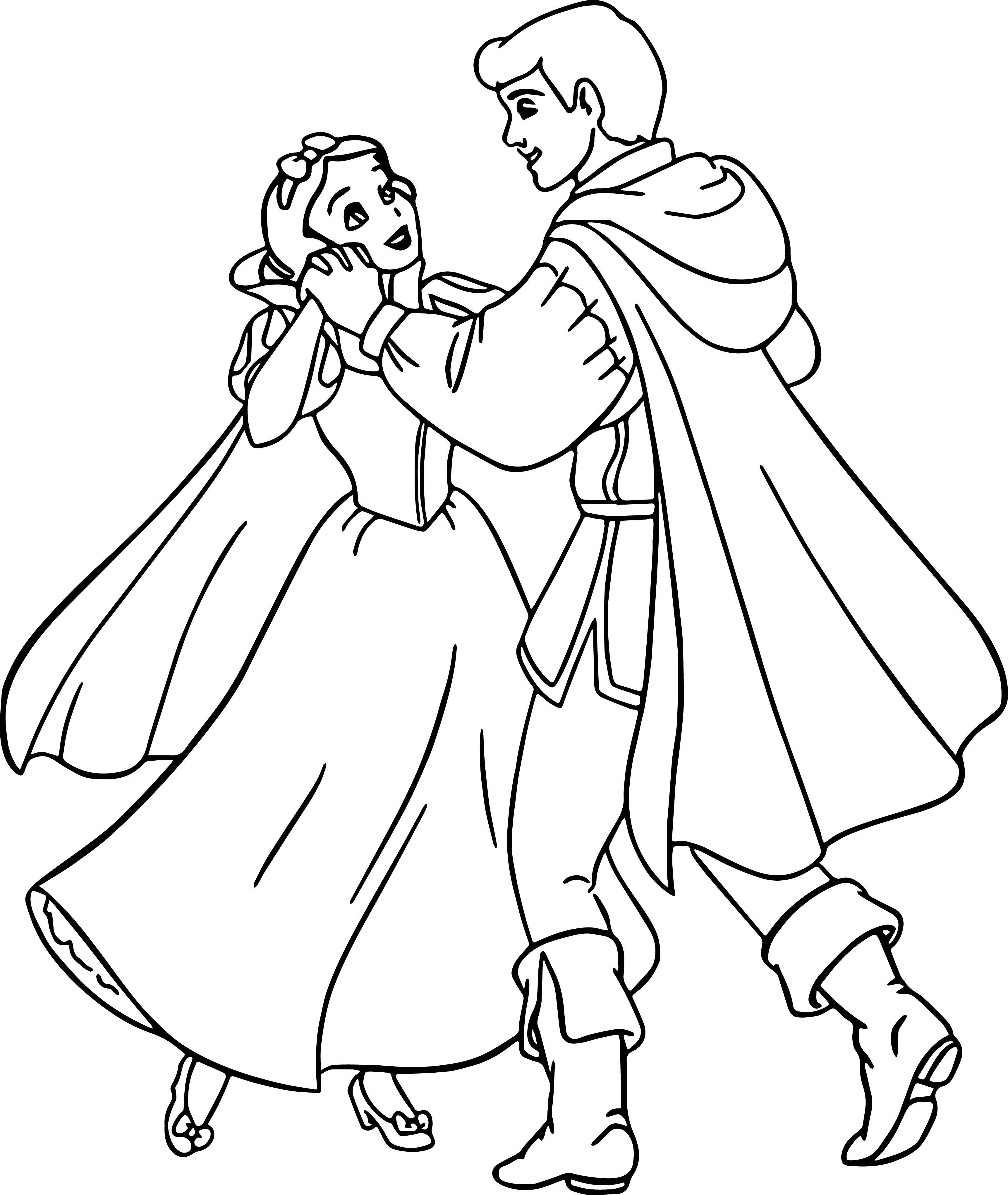 Tranh tô màu nàng Bạch Tuyết và hoàng tử