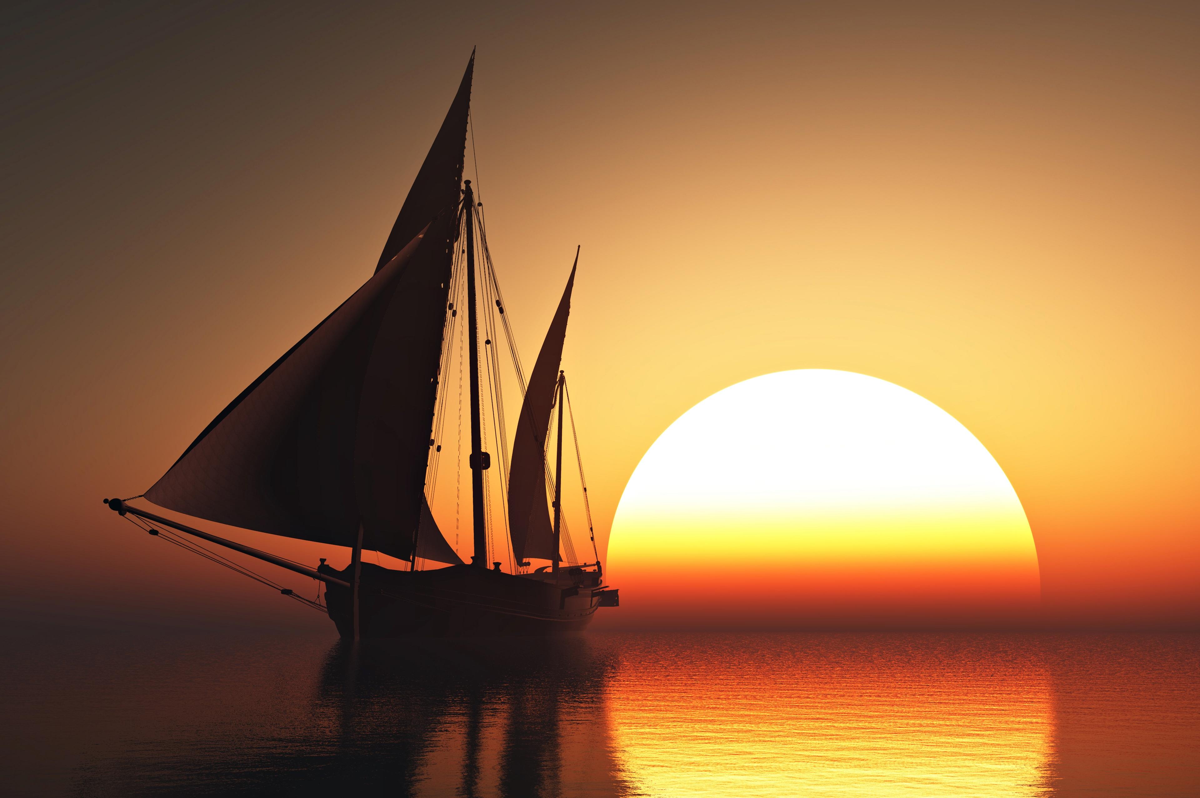 Hình ảnh thuyền buồm bình minh