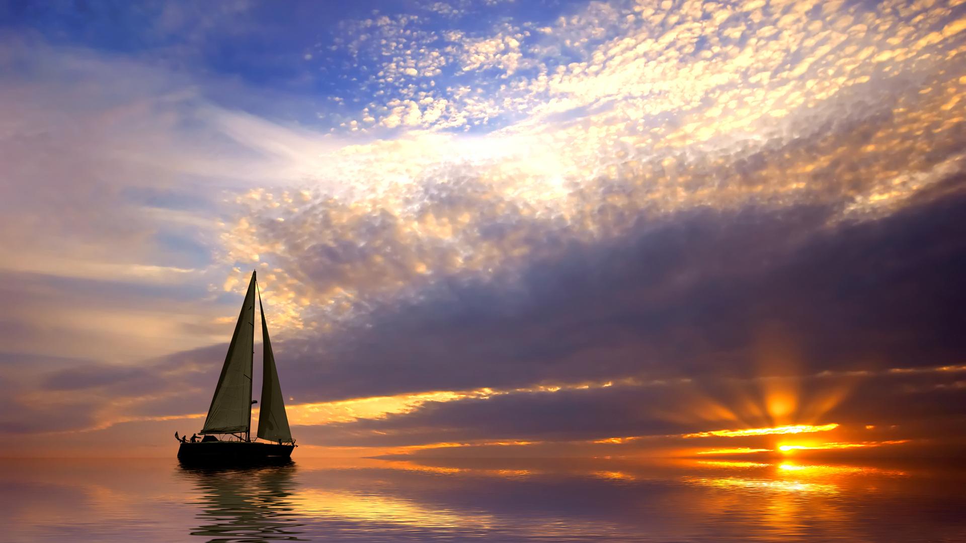 Hình ảnh biển thuyền buồm hoàng hôn