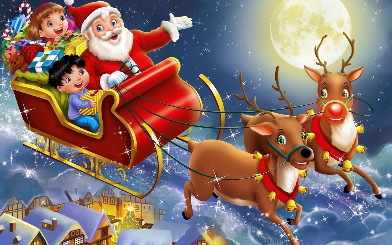 Hình ảnh ông già Noel cưỡi tuần lộc