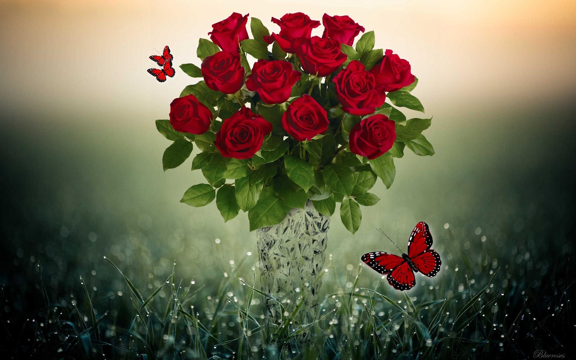 Hình ảnh bó hoa hồng đỏ lãng mạn